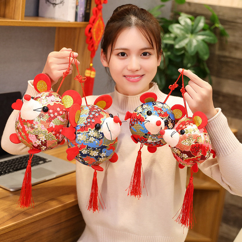 2020 Year Of The Fat Rat Mascot Plush Toy Red Chinese Knot Mouse Pendant High Quality Hanging Deacoration New Year Gift For Kids