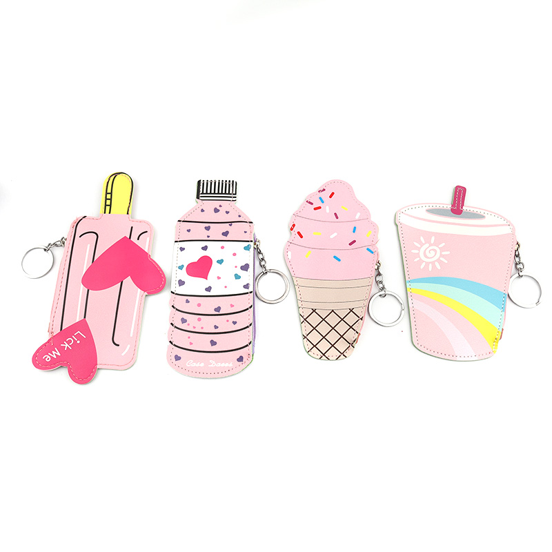 PACGOTH Lolita Style Kawaii PU Leather Coin Purse Square Cute Bottle Drink Ice Cream Pattern Coin Money Wallets & Holders 1 PC