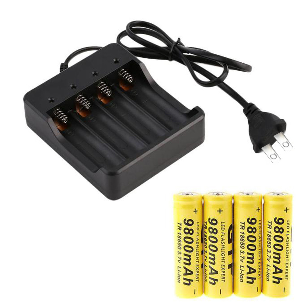4x 3.7v <font><b>Battery</b></font> 18650 <font><b>9800</b></font> mAh Li-ion Rechargeable Bateria 18650 <font><b>Battery</b></font> Smart Charger Indicator US Lithium <font><b>Batteries</b></font> Original image