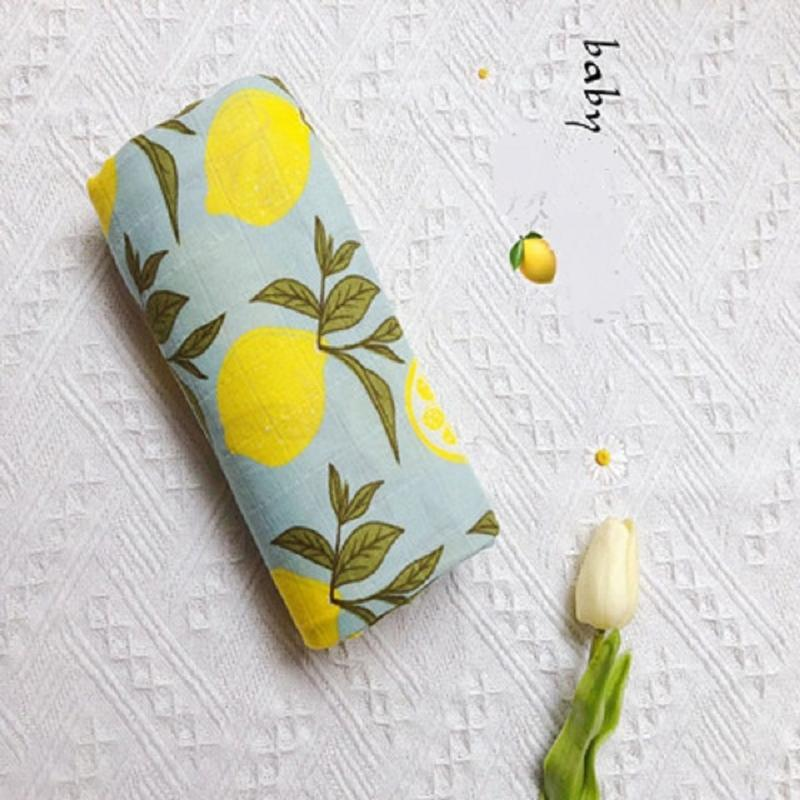 Lemon Newborn Muslin 100% Cotton Soft Baby Multi-use Big Diaper Blanket Swaddling Blankets Bedding Swaddle Wrap Bath Towel