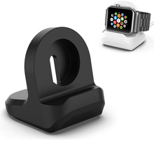 Silicone Charger Holder for Apple Watch Series 1/2/3/4/5 Charging Dock Station for i Watch 44mm 42mm 40mm 38mm Black Stand portable charger charging holder dock case abs storage protective cover bag box for apple watch i watch black white wholesale