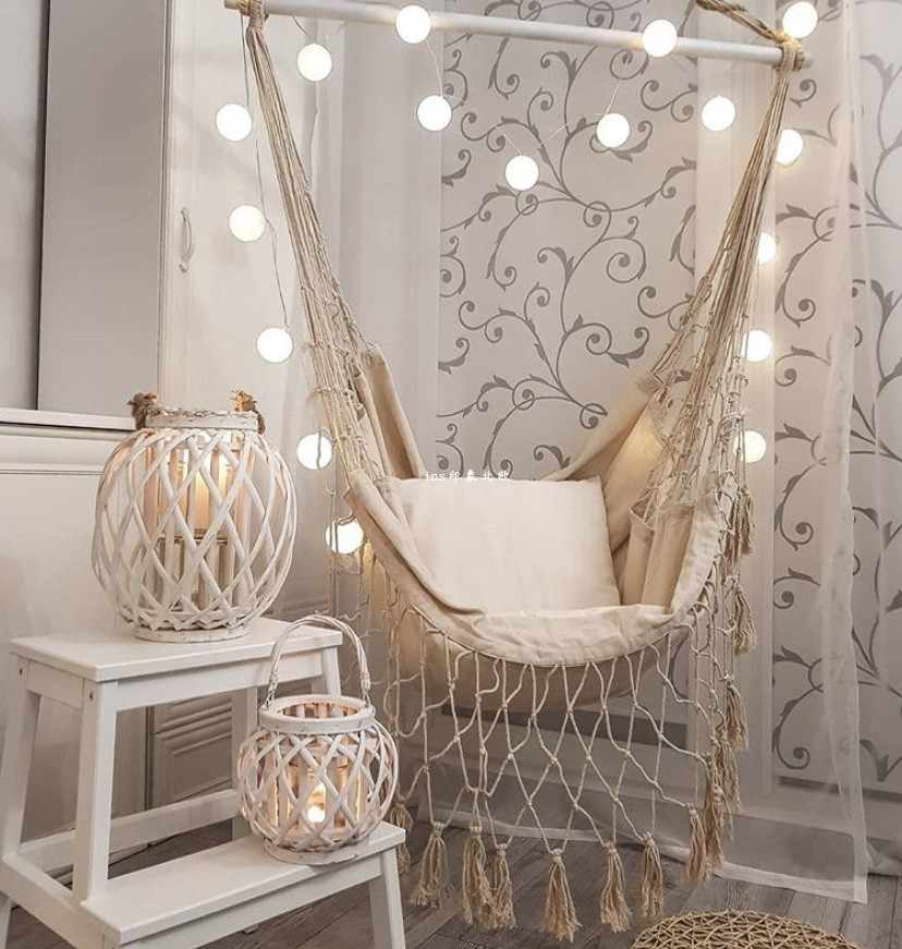 Northern European Style Hanging Chair Tassels Canvas Swing Simple