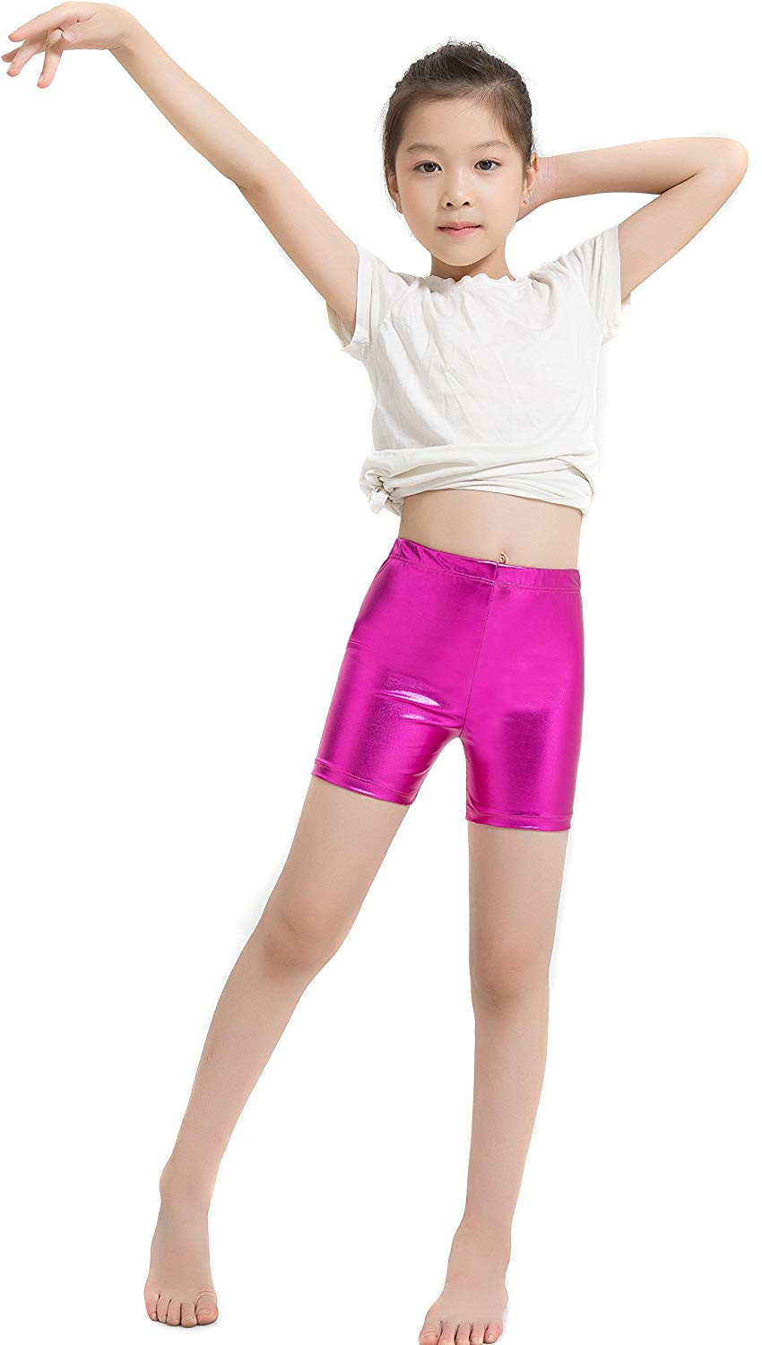 Girls Shiny Metallic High Waisted Gymnastics Dance Booty Shorts Work Out Stage Performance
