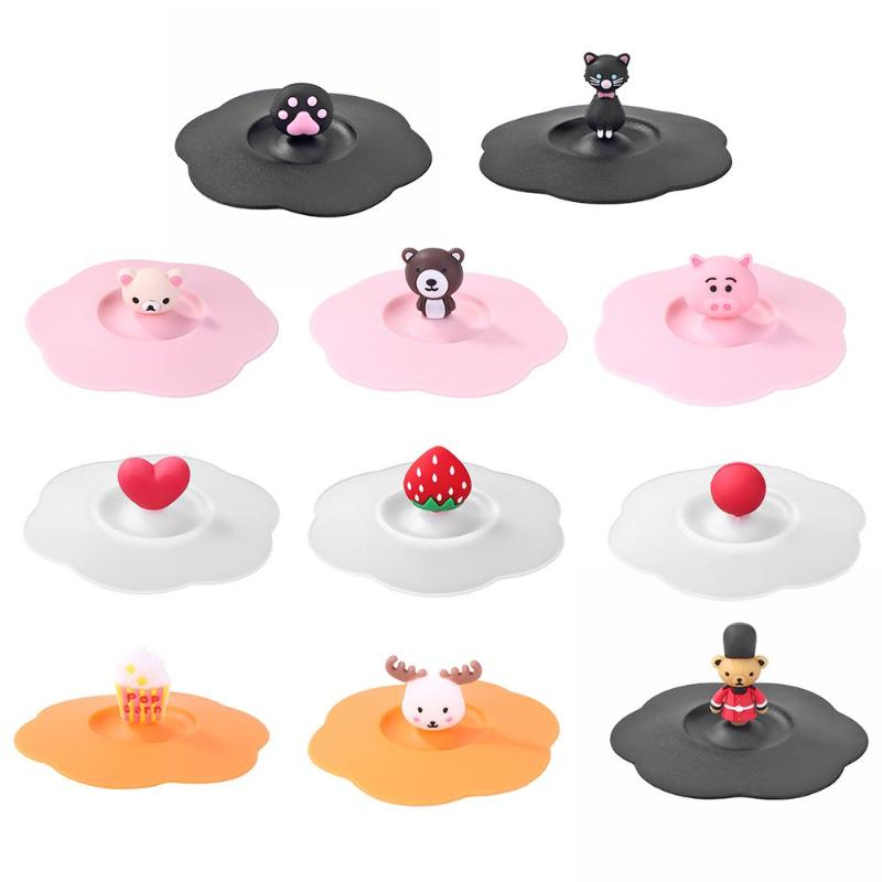 Cartoon Silicone Cup Cover Plum Blossom Heat-resistant Water Lid Transparent Dust Prevention Seal Leak Proof Reusable Tool