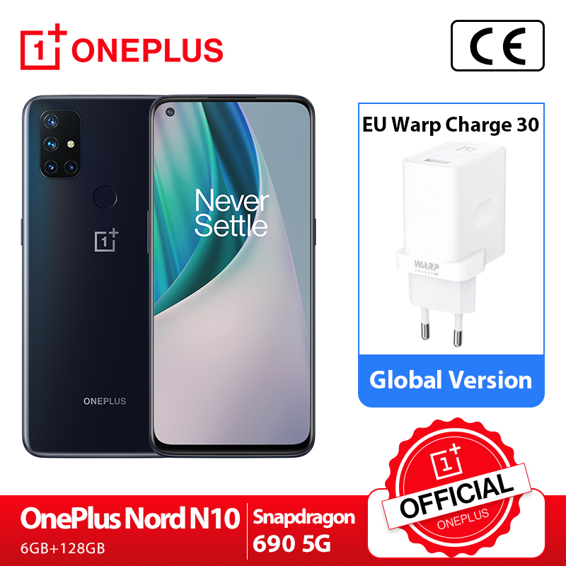 OnePlus Nord N10 5G OnePlus Official Store Estreno mundial versión Global 6GB 128GB Snapdragon 690 Smartphone 90Hz pantalla 64MP Quad cámaras Warp 30T NFC; code:21LOVEYOU3(€30-3);21LOVEYOU5(€50-5);21LOVEYOU12(€120-12)
