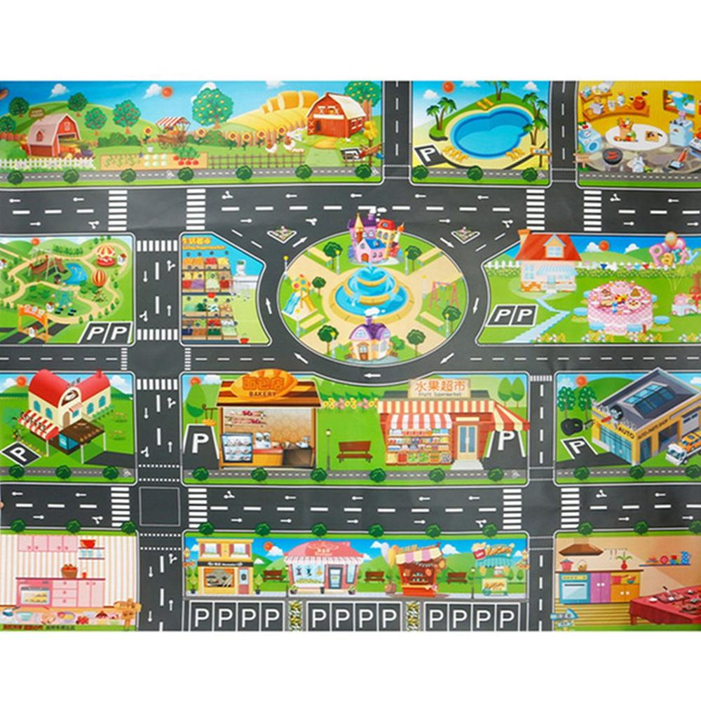 Cloth Toys Chinese And English Children'S Game Pad Play Home Traffic Road Sign Car Model Parking Lot Map Map