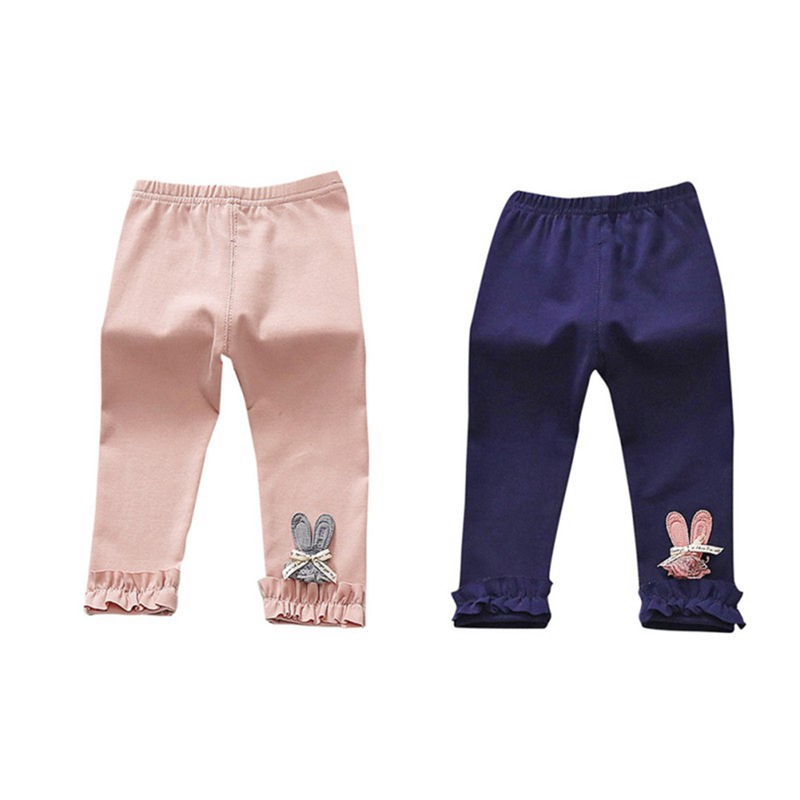 Newborn Baby Girls Pants Spring Cotton Baby Leggings Elastic Waist Solid Rabbit Patter Toddler Girl Clothing Trousers Pants