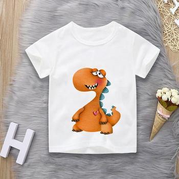 Gorące koszulki chłopięce i dziewczęce kreskówki dziecięce koszulki dinozaury drukowane dziecięce letnie koszulki bawełniane koszulki Clothi tanie i dobre opinie COTTON CN (pochodzenie) Lato 25-36m 4-6y 7-12y 12 + y Chłopcy Na co dzień W stylu rysunkowym REGULAR Z okrągłym kołnierzykiem