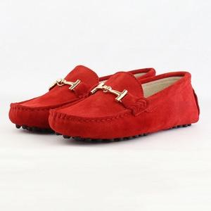 Image 4 - נעלי אישה 2020 עור אמיתי נשים מזדמנים נעליים שטוחות להחליק על נשים נעלי דירות רך מוקסינים גברת נהיגה נעליים