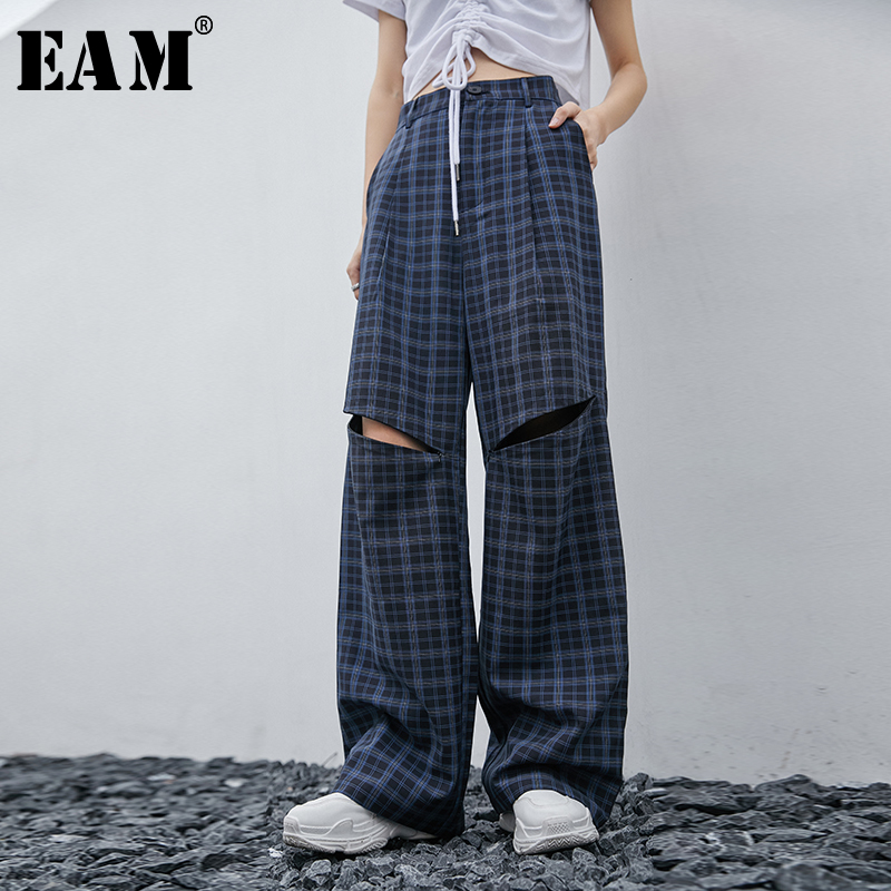 [EAM] High Waist Blue Plaid Hollow Out Long Wide Leg Trousers New Loose Fit Pants Women Fashion Tide Spring Autumn 2020 1T550