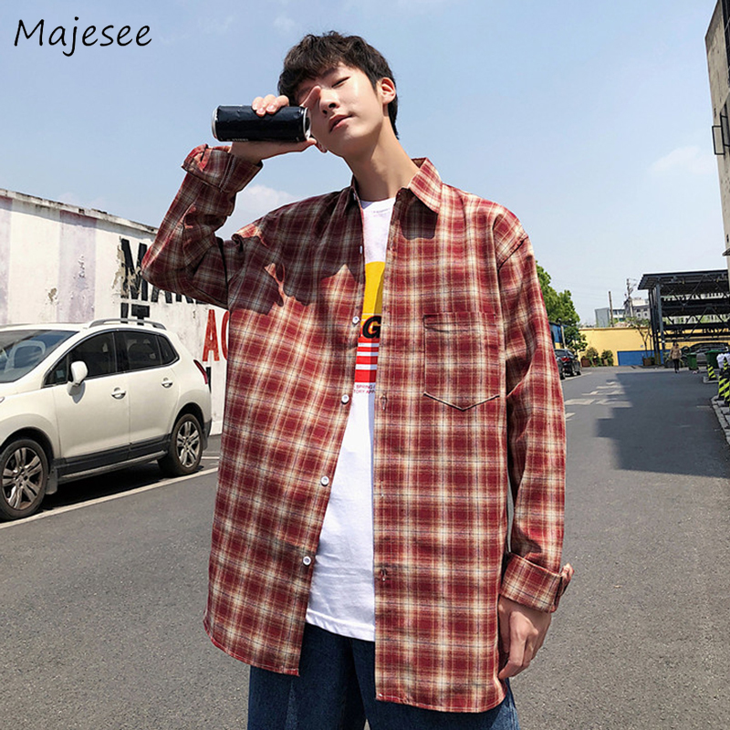 Men Shirts Plaid Retro Japanese Style Loose Ins Mens Trendy All-match Chic Pocket Long Sleeve Ulzzang New Harajuku Daily Outwear
