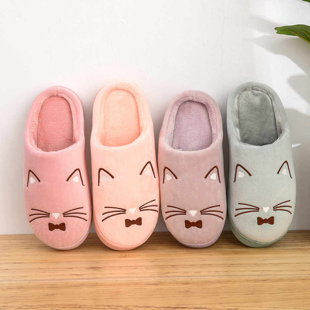 Women's Couples Warm Cartoon Cat Non-slip Floor Home Slippers Indoor Shoes Women Winter Home Slippers  Plush House Shoes