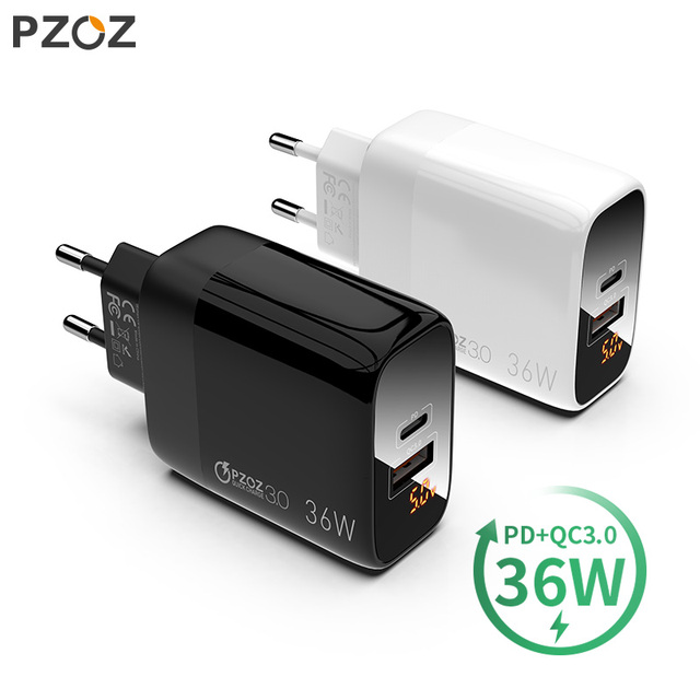PZOZ PD 18W hızlı şarj 3.0 USB şarj cihazı 36W hızlı şarj LED ekran ab duvar adaptörü için iphone11 8 7 6s xiaomi redmi note 9s