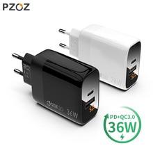 PZOZ cargador USB 3,0 de carga rápida PD 18W, 36W, pantalla LED, adaptador de pared europeo para iPhone 11, 8, 7, 6s, xiaomi redmi note 9s
