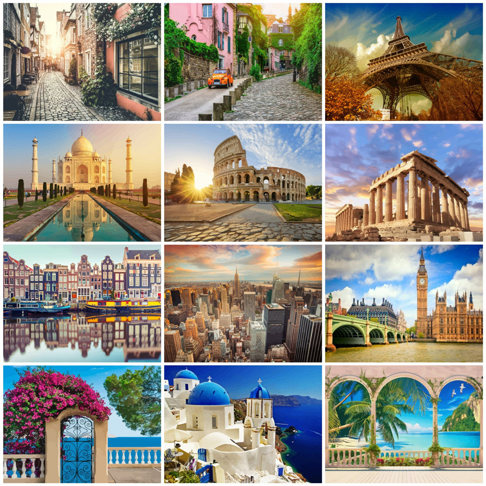 HUACAN City Landscape Painting By Numbers Drawing On Canvas HandPainted Art Picture Kits Home Decor DIY Gift