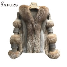2019 Winter New Fox Fur Coats Mink Overcoat Mixed Real Jackets Women Luxury Short Russian Warm Natural Clothing