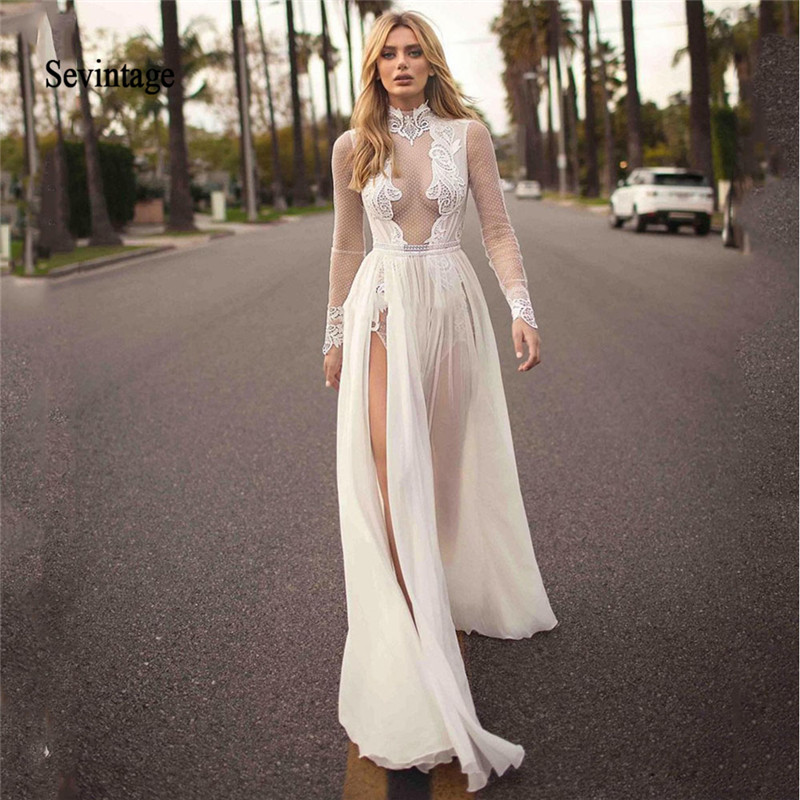 Sevintage Sexy Slit Side Chiffon Wedding Dresses High Neck Boho Bridal Gown Long Sleeve Backless Lace Vestidos De Novia 2020