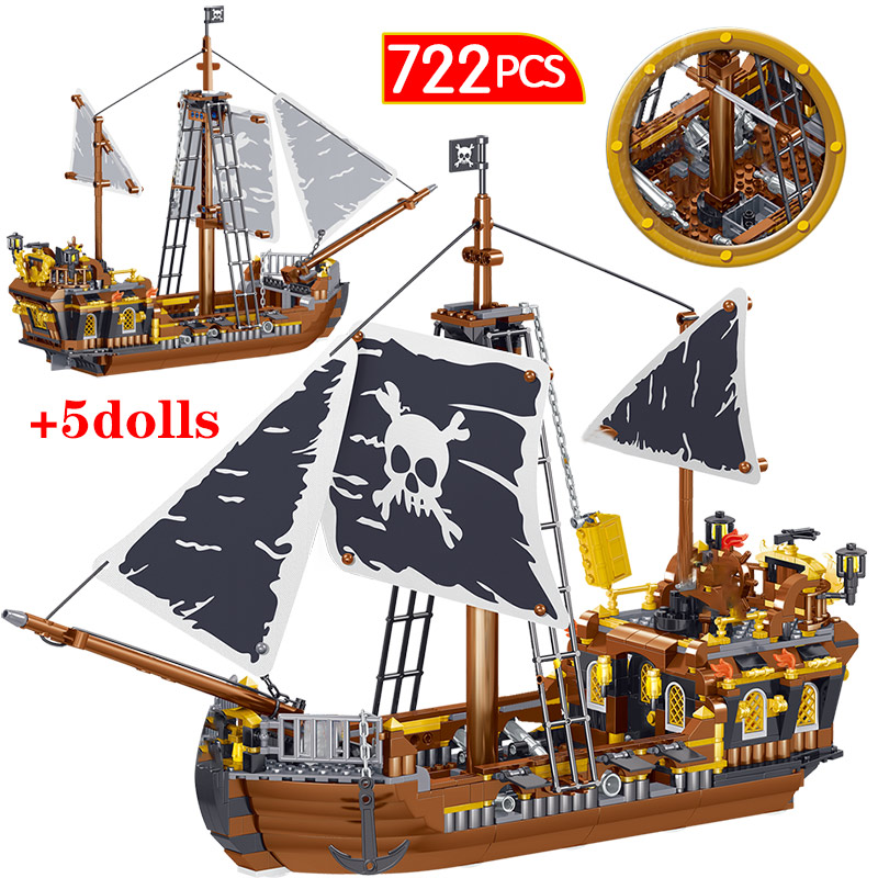 722pcs Pirate Of The Caribbeam Series Blocks God Of Storm Legoingly Pirate Boat Figures Bricks Education Toys For Kids Gifts