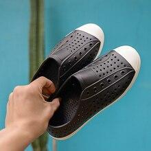 Летняя модная дышащая пляжная обувь; мужские сандалии; прозрачные повседневные сандалии на плоской подошве; обувь с отверстиями в виде птичьего гнезда