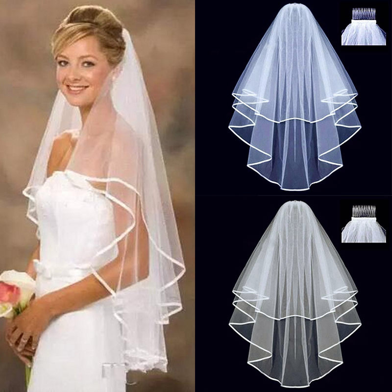 White Beige Two Layer Short Tulle Wedding Veils With Comb Bridal Veil For Bride For Marriage Wedding Party Accessories 2020