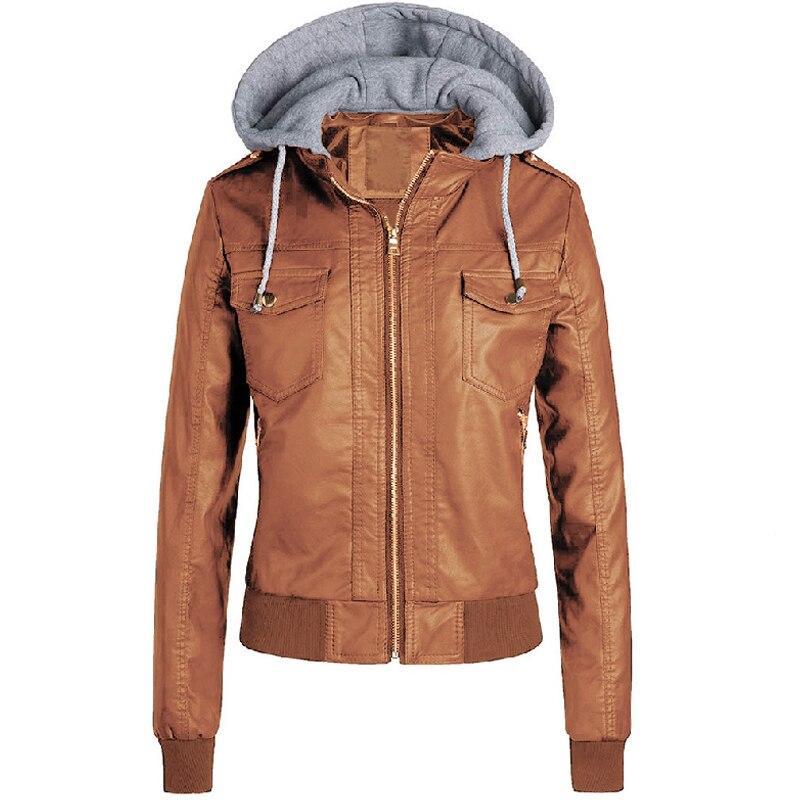 Women Winter Leather   Jacket   2019 Casual Ladies Hooded   Basic     Jackets   Coats Khaki Female Motorcycle   Jacket   For Girls Plus Size 3XL