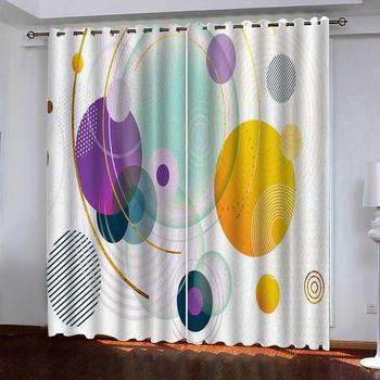 custom blackout curtains 3D Abstract colored circles bedroom living room window curtain bedroom decoration