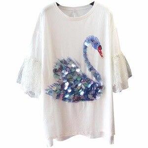 Женское платье-рубашка с лебедем, расшитое блестками, летнее свободное белое хлопковое платье с кружевными расклешенными рукавами, модные ...