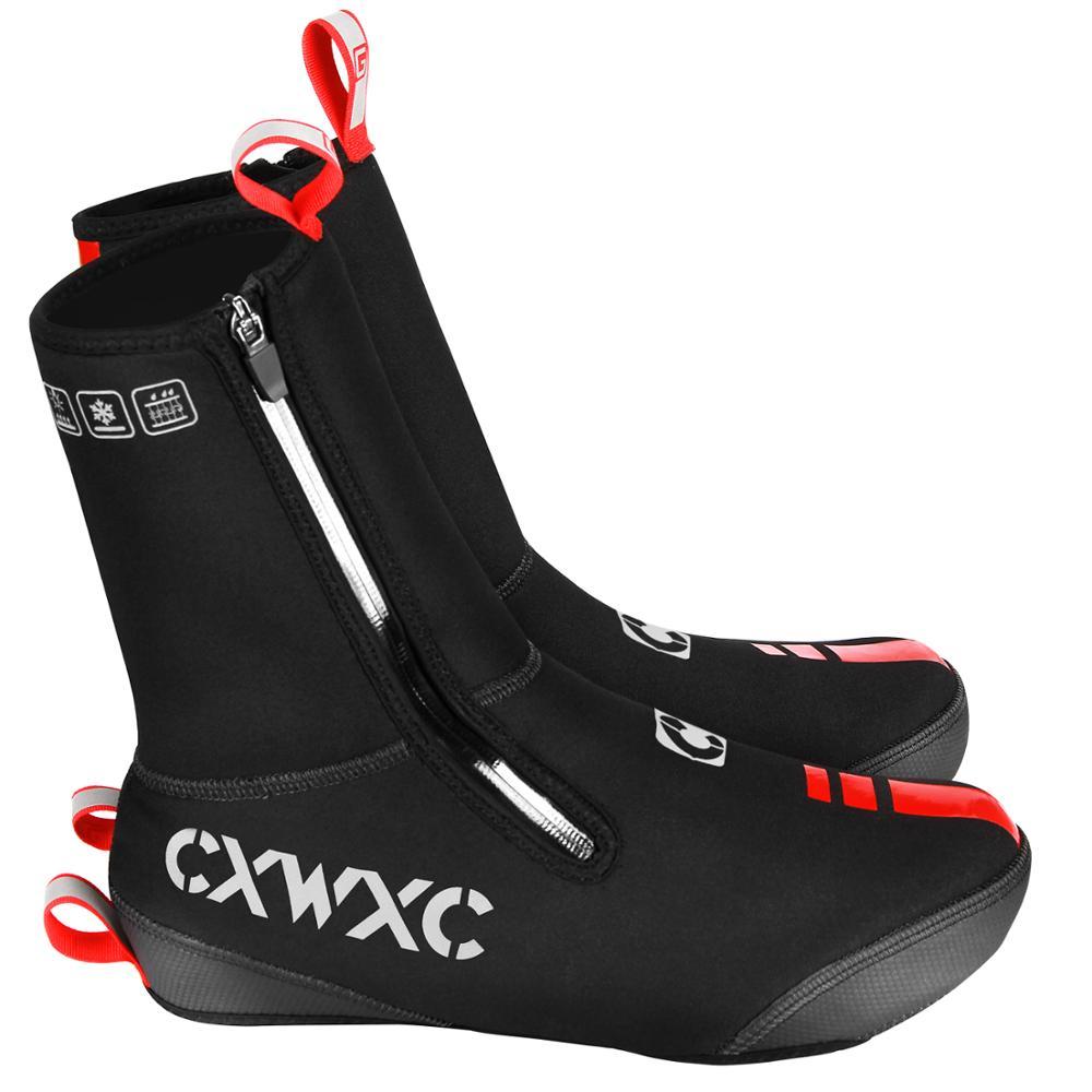 CXWXC grube ciepłe zimowe kolarstwo kalosze neoprenowe wodoodporne wiatroszczelne buty rowerowe obejmuje mężczyźni kobiety MTB Road Bicycle Booties Case