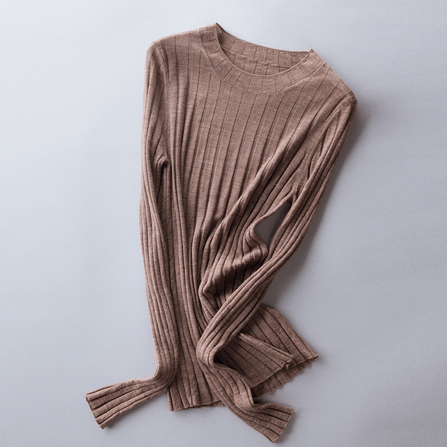Best Price 814c9 Women Wool Knitted Tops Crew Neck Ribbed Wool Sweater Pullovers S M L Cicig Co