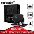 Carsanbo 180 תואר אופקי רחב זווית 720P HD IP68 עמיד למים דגי עין עדשת רכב מבט אחורי הפוך מצלמה קדמי תצוגת מצלמה