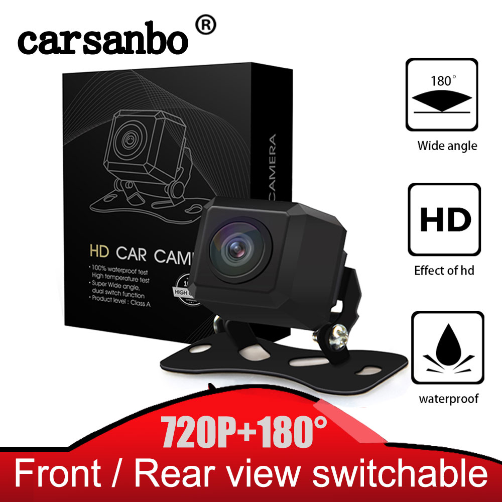Carsanbo 180 Degree Horizontal Wide Angle 720P HD IP68 Waterproof Fish Eye Lens Car Rear View Reverse Camera Front View Camera