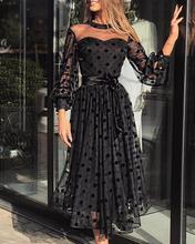 цена на Mesh See Through Lantern Sleeve Pleated Dress Women Perspective Polka Dot Maxi Dress
