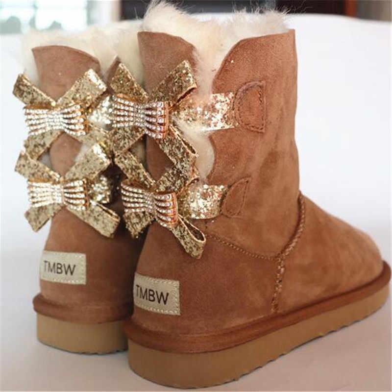 Kadın ayakkabı 2018 moda iki yay gerçek koyun derisi kadın kış kadın kar botları orta buzağı hakiki koyun derisi kadın botları