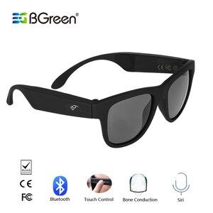 Image 1 - BGreen z przewodnictwem kostnym Bluetooth inteligentne słuchawki otwarte ucho Audio spolaryzowane okulary bezprzewodowe sportowe słuchawki zestaw słuchawkowy Stereo