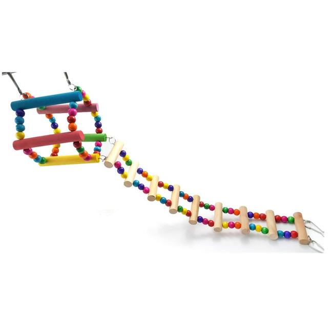 Bird Colorful Wood Swing Climbing Ladder Flexible Rainbow Bridge for Parrot Parakeet Hamster Budgie Cockatiel Cage