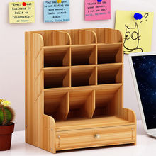 Houten Bureau Organizer Multifunctionele Diy Pen Houder Doos Desktop Stationaire Home Office Supply Opbergrek Handige Nieuwe(China)