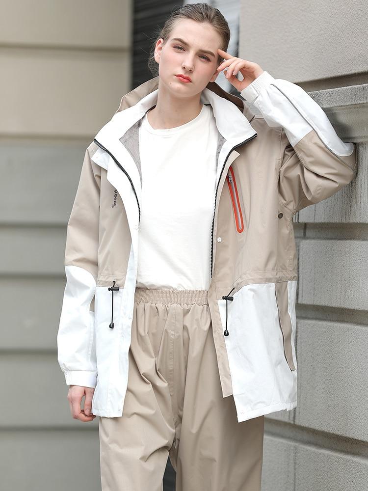 Large Adult Raincoat Hooded Waterproof Travel Raincoat Pants Couple Hiking Kurtka Przeciwdeszczowa Outdoor Raincoat Set MM60YY