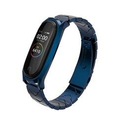 Mijobs Mi band 4 Strap Metal Stainless Steel Bracelet for Xiaomi Mi Band 4 Mi Band 3 Strap Smart Watch Miband 4 correa Wristband