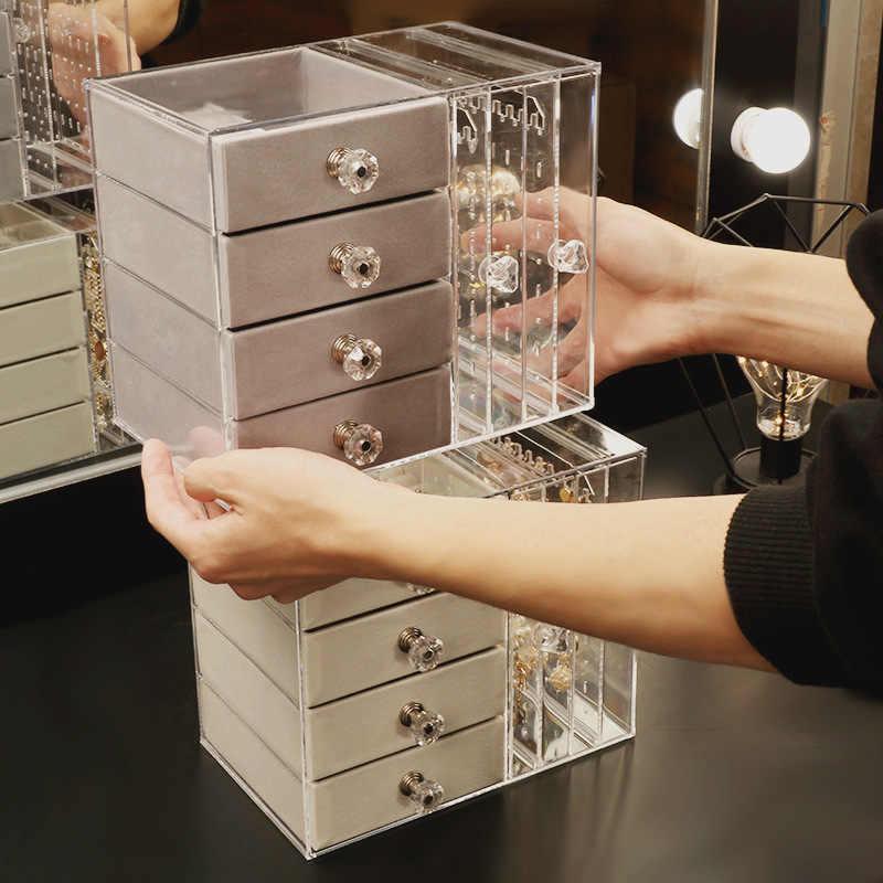 Коробка для хранения ювелирных изделий, домашний комод, стенд для ювелирных изделий, браслет, вешалка для хранения серег, многослойная Пылезащитная коробка для ювелирных изделий