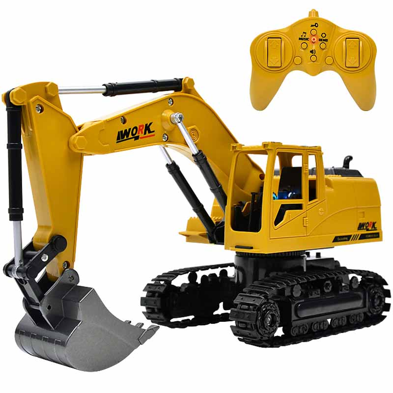 8 Channel RC Excavator Toys 1:24 RC Cars Rotable Alloy Excavator RC Engineering Car Remote Control Car Model Toys For Kids Gifts