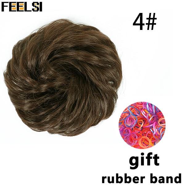 FEELSI синтетические гибкие волосы булочки кудрявые резинки шиньон эластичные грязные волнистые резинки для наращивания конского хвоста для женщин - Цвет: NC/4HL
