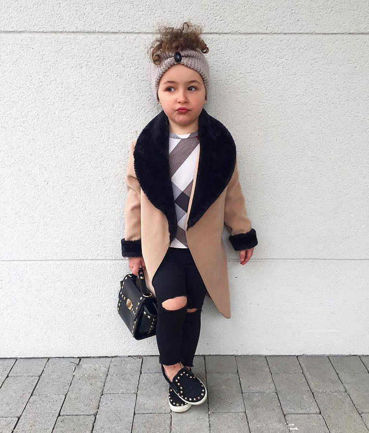 2019 Little girls Wool coat Jackets patchworked Fur turn-down collar Princess Winter Coats Baby Girls Trench Full Sleeve Clothes
