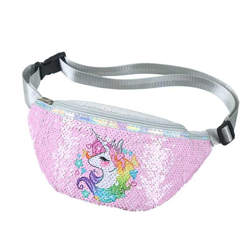 Sequins baskı Unicorn pullu moda bel çantası fanny paketi çocuk karikatür göğüs çanta açık seyahat cep telefonu kılıfı