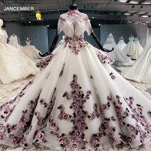 HTL1060 robes longues robe de soirée 2020 Appliques fleurs col haut perles gland manches courtes à lacets dos