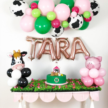 Green Farm Theme Party Balloons Construction Vehicle Truck Excavator Tractor Banner Cake Topper for Kids Birthday Party Decor image