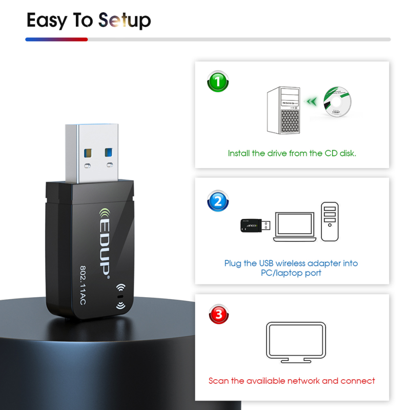EDUP 1300Mbps Mini USB3.0 Wifi Adapter Wifi Network Card Dual Band 5.8G/2.4GHz Wireless AC USB Adapter for PC Desktop Laptop 6