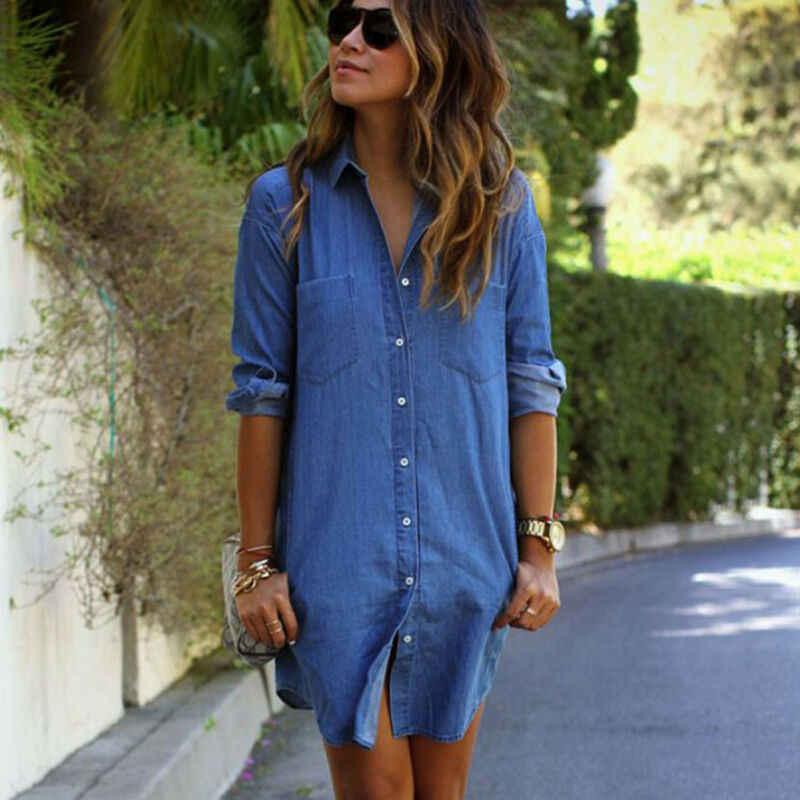 Moda bayan Denim elbise yaz uzun kollu rahat gevşek üstleri Mini gömlek elbise