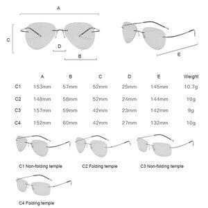 Image 5 - Gafas de sol polarizadas de titanio sin montura para hombre, lentes de sol fotocromáticas de Metal de diseño de marca ultraliviana Vintage para dama