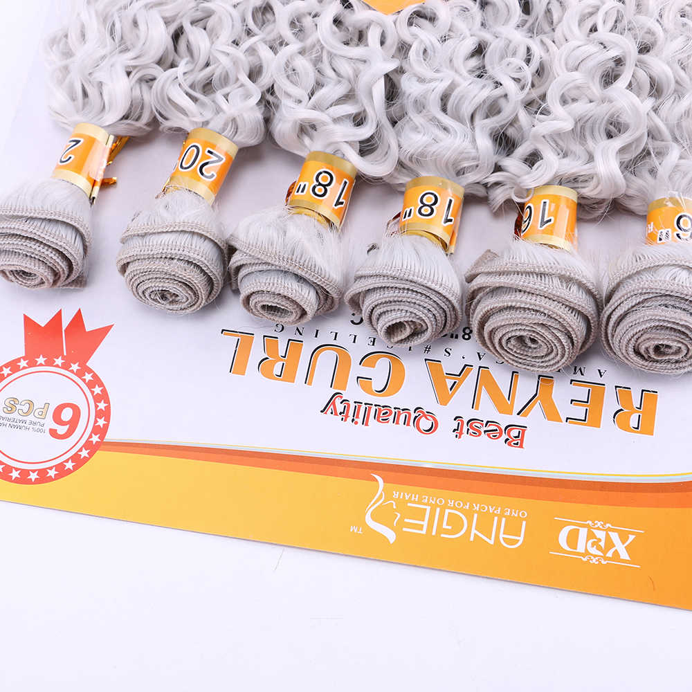 Cinza prata encaracolado Kinky da extensão do cabelo sintético tecer pacote cabelo pure cabelo da fibra resistente ao calor