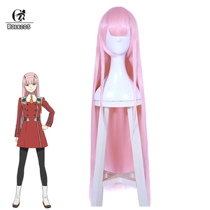 Peluca ROLECOS Darling in the Franxx Cosplay 02 Cosplay pelo sintético Zero Two 100cm peluca Rosa pelo sintético largo para mujer